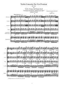 Концерт для скрипки с оркестром No.9 ре минор, RV 236: Score, parts by Антонио Вивальди