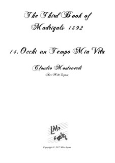 Тетрадь 3 (для пяти голосов), SV 60–74: No.14 Occhi un tempo mia vita. Arrangement for quintet instruments by Клаудио Монтеверди