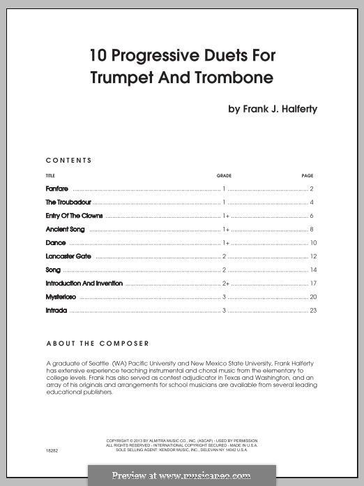 10 Progressive Duets for Trumpet and Trombone: 10 Progressive Duets for Trumpet and Trombone by Frank J. Halferty