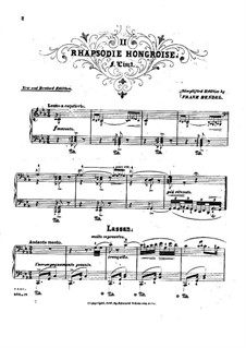 No.2 до-диез минор, S.244: Для фортепиано (Под редакцией Ф. Бенделя) by Франц Лист