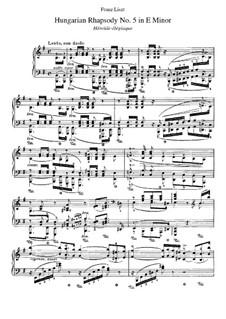 No.5 ми минор, для фортепиано, S.244: Для одного исполнителя by Франц Лист
