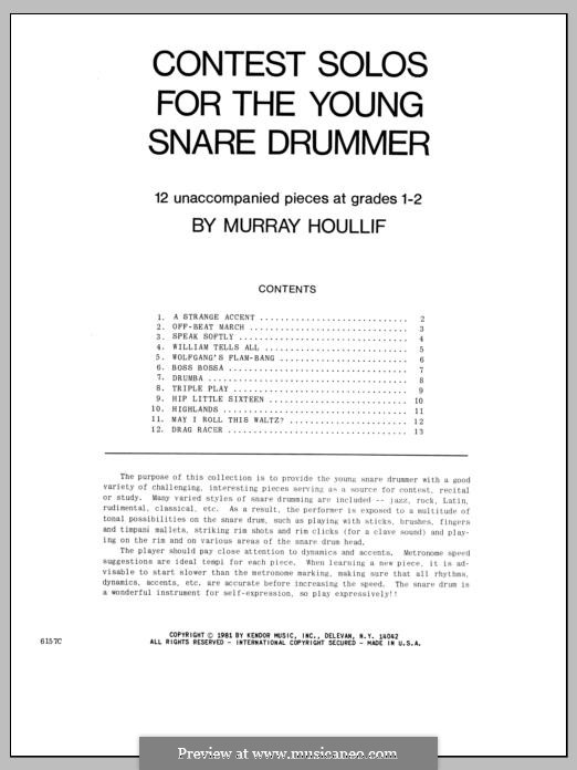 Contest Solos: For the Young Snare Drummer by Murray Houllif