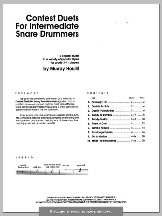 Contest Duets: For the Intermediate Snare Drummers by Murray Houllif