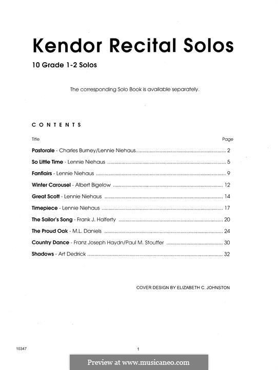 Kendor Recital Solos - Baritone: With piano accompaniment by Lennie Niehaus, Frank J. Halferty, Paul M. Stouffer, Albert Bigelow