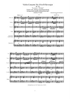 Концерт для скрипки с оркестром No.10 си-бемоль мажор 'La caccia', RV 362 : Score, parts by Антонио Вивальди