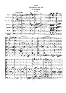 Симфония No.30 ре мажор, K.202: Партитура by Вольфганг Амадей Моцарт