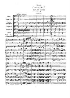 Концерт для скрипки с оркестром No.5 ля мажор 'Турецкий', K.219: Партитура by Вольфганг Амадей Моцарт