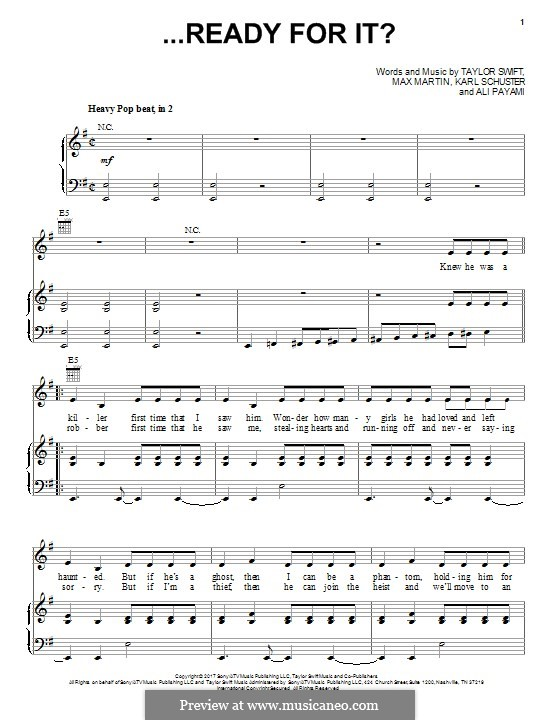...Ready for It? (Taylor Swift): Для голоса и фортепиано (или гитары) by Shellback, Max Martin, Taylor Swift, Ali Payami