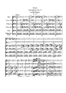Симфония No.5 си-бемоль мажор, K.22: Симфония No.5 си-бемоль мажор by Вольфганг Амадей Моцарт
