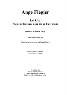 Le Cor: For horn in F and piano by Анж Флегье