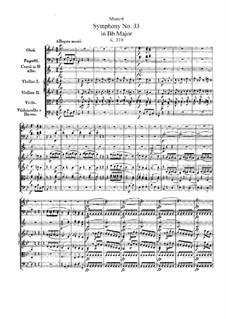 Симфония No.33 си-бемоль мажор, K.319: Партитура by Вольфганг Амадей Моцарт