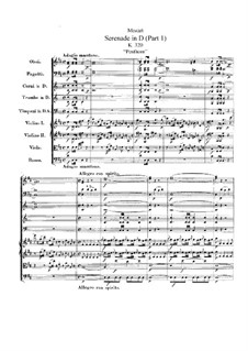 Серенада для оркестра No.9 ре мажор 'Posthorn', K.320: Партитура by Вольфганг Амадей Моцарт