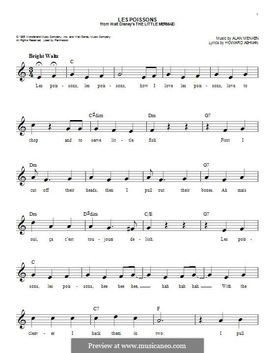 Les Poissons (from The Little Mermaid): Мелодия by Alan Menken