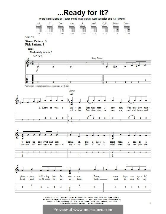 ...Ready for It? (Taylor Swift): Гитарная табулатура by Shellback, Max Martin, Taylor Swift, Ali Payami