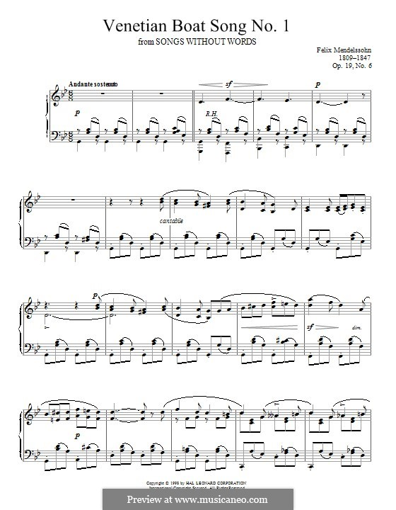 Песни без слов, Op.19b: No.6 Venezianisches Gondellied (Venetian Gondola Song) by Феликс Мендельсон-Бартольди