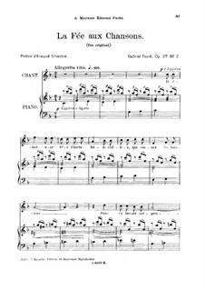 Две песни, Op.27: No.2 La fée aux chansons, for high voice by Габриэль Форе