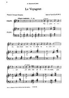 Три песни, Op.18: No.2 Le voyageur, for high voice by Габриэль Форе