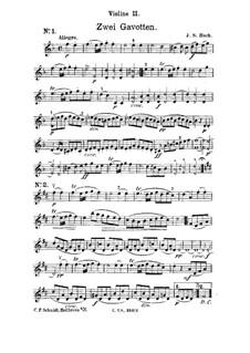 Гавот ре минор: Переложение для струнных – партия II скрипки by Иоганн Себастьян Бах