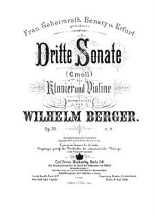Соната No.3 для скрипки и фортепиано, Op.70: Партитура by Вильгельм Бергер