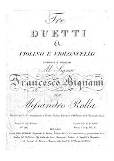 Три дуэта для скрипки и виолончели, BI 242, 243, 244: Три дуэта для скрипки и виолончели by Алессандро Ролла