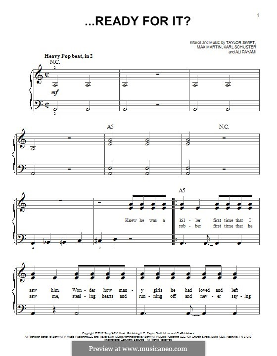 ...Ready for It? (Taylor Swift): Для фортепиано by Shellback, Max Martin, Taylor Swift, Ali Payami