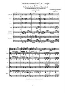Концерт для скрипки с оркестром No.12 до мажор , RV 178: Score, parts by Антонио Вивальди