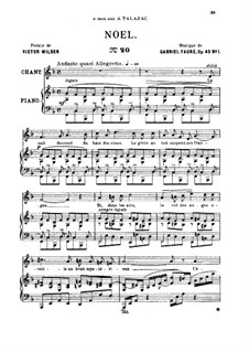 Две песни, Op.43: No.1 Noël, for medium voice by Габриэль Форе