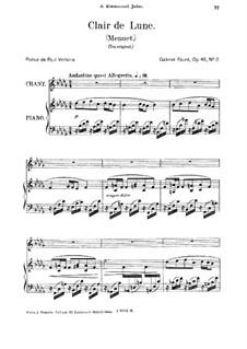 Две песни, Op.46: No.2 Clair de lune (Moonlight), for medium voice by Габриэль Форе