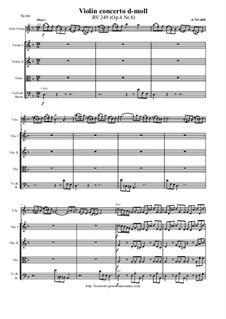 La stravaganza. Twelve Violin Concertos, Op.4: Violin Concerto No.8 in D minor – score and all parts, RV 249 by Антонио Вивальди