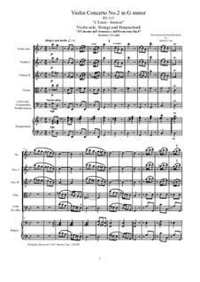 Концерт для скрипки с оркестром No.2 соль минор 'Лето', RV 315: Партитура, Партии by Антонио Вивальди