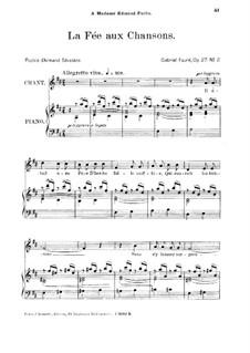 Две песни, Op.27: No.2 La fée aux chansons, for medium voice by Габриэль Форе