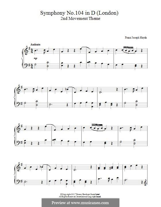 Симфония No.104 ре мажор 'Лондонская', Hob.I/104: Movement II. Theme, for piano by Йозеф Гайдн