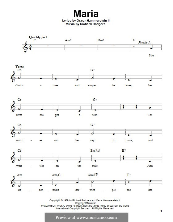 Maria (from The Sound of Music): Мелодия by Richard Rodgers