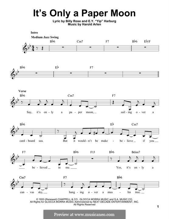 It's Only a Paper Moon: Melody line (Ella Fitzgerald) by Harold Arlen