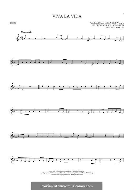 Instrumental version: For horn by Chris Martin, Guy Berryman, Jonny Buckland, Will Champion