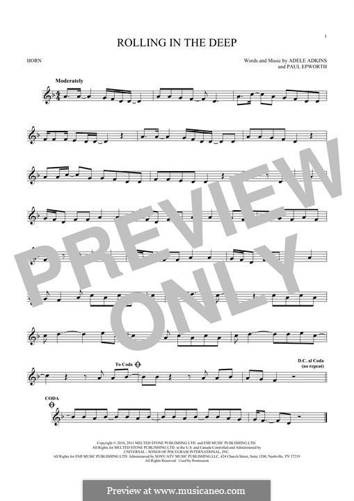 Vocal-instrumental version: For horn by Adele, Paul Epworth