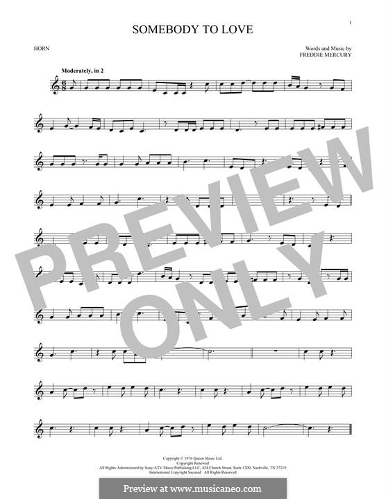 Somebody to Love (Queen): For horn by Freddie Mercury