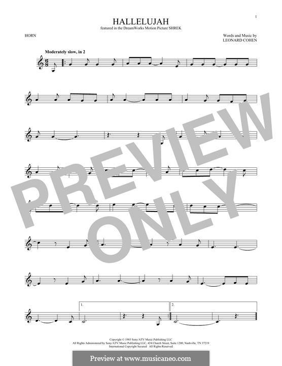 Hallelujah: For horn by Leonard Cohen