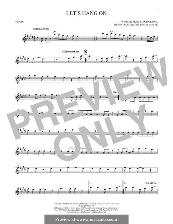 Let's Hang On: Для скрипки by Bob Crewe, Denny Randell, Sandy Linzer