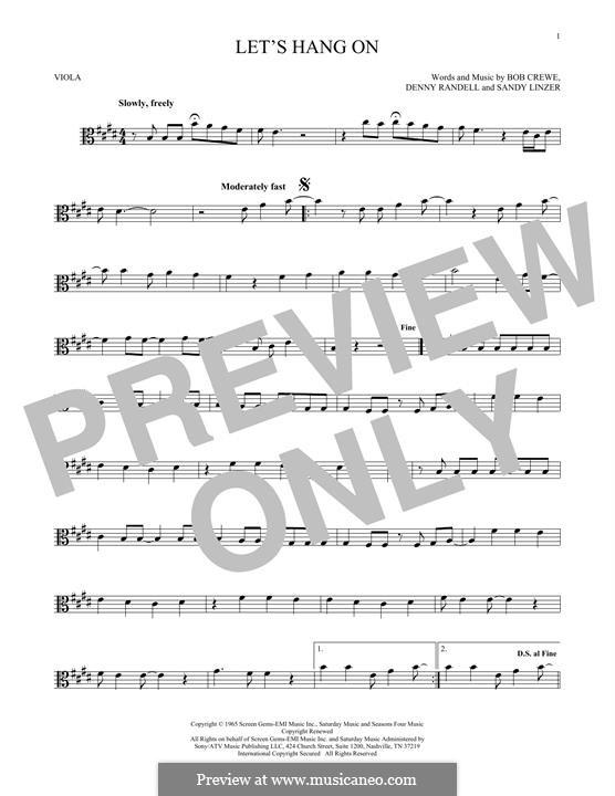 Let's Hang On: For viola by Bob Crewe, Denny Randell, Sandy Linzer