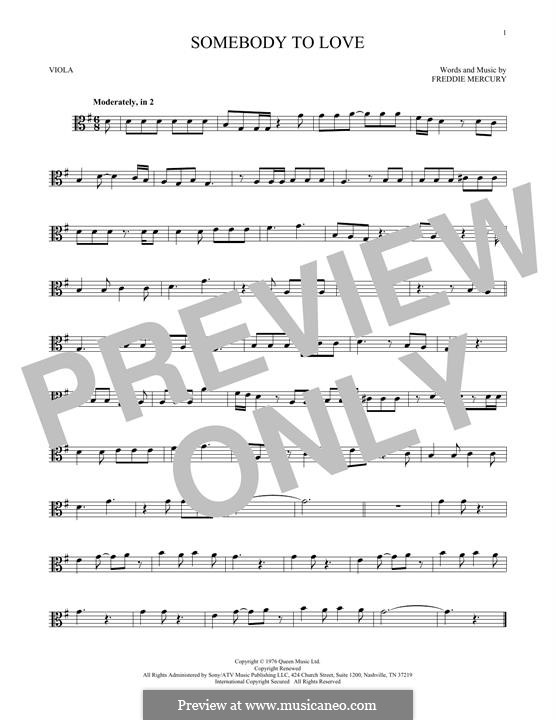 Somebody to Love (Queen): For viola by Freddie Mercury