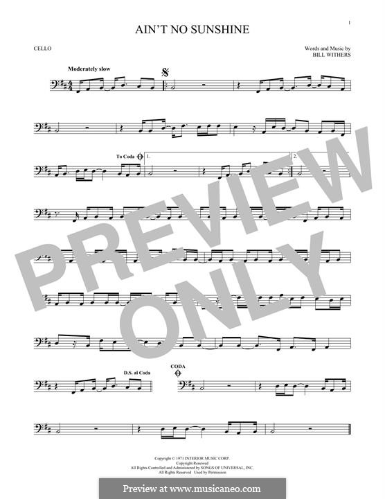 Ain't No Sunshine: Для виолончели by Bill Withers