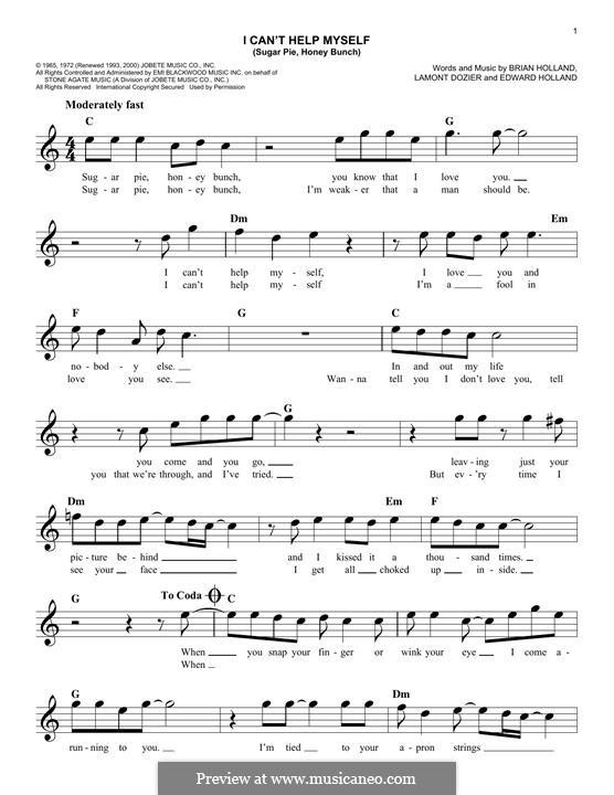 I Can't Help Myself (Sugar Pie, Honey Bunch): Мелодия by Brian Holland, Edward Holland Jr., Lamont Dozier