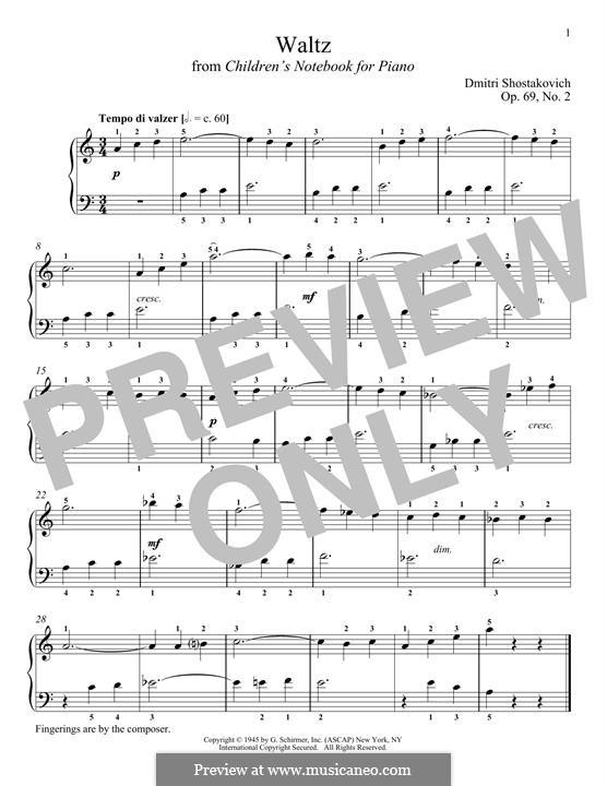 Children's Notebook, Op.69: No.2 Вальс by Дмитрий Шостакович