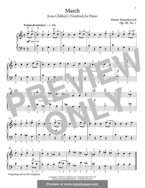 Children's Notebook, Op.69: No.1 March by Дмитрий Шостакович