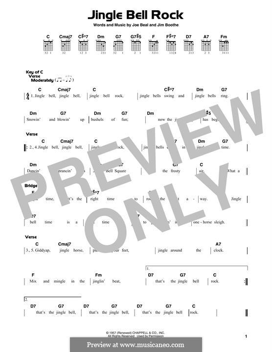 Jingle Bell Rock: Гитарная табулатура by Jim Boothe, Joe Beal