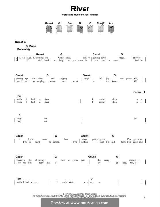 River: Гитарная табулатура by Joni Mitchell