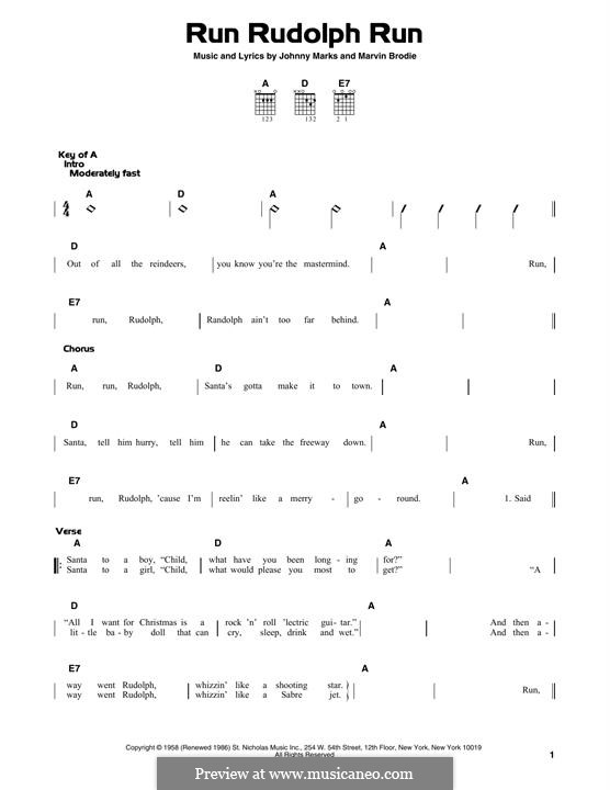 Run Rudolph Run: Гитарная табулатура by Johnny Marks, Marvin Brodie