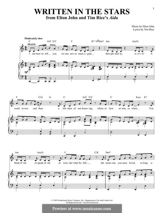 Written in the Stars: Для голоса и фортепиано by Elton John