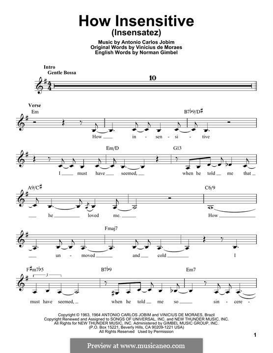 How Insensitive (Insensatez): Мелодия by Antonio Carlos Jobim